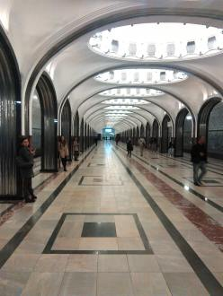 This is Belorusskaya Metro Station; I took this when I went on a mini tour of the Moscow metro stations. The metro itself is the world's third biggest one, and it's very efficient.