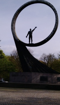 This statue is dedicated to the cosmonauts.