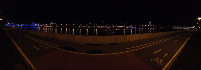 Panorama of the river. Across it you can make out Gorky Park.