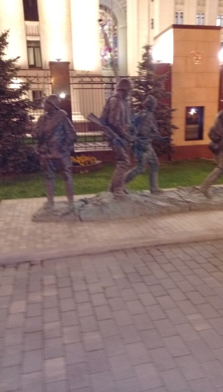 Statue seen on the pedestrian walkway outside the Ministry of Defense.